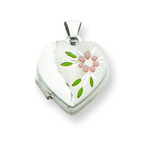 Sterling Silver Floral 15mm Heart Locket. Metal Weight- 0.88g.