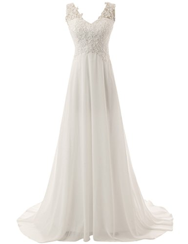 JAEDEN Elegant V-neck A-line Lace Chiffon Long Beach Wedding Dress White US14