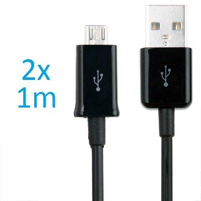 2 x Samsung Galaxy S3 Datenkabel / Ladekabel / S 3 / S3 Mini - Micro USB / Premium Kabel in schwarz - 1 Meter - von THESMARTGUARD
