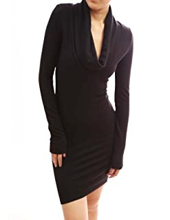 PattyBoutik Sexy Drape Cowl Neck Long Sleeve Party Knit Dress (Black XL)