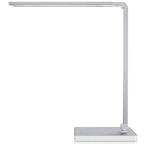 Phive Dimmable LED Desk Lamp with Fast Charging USB Port, Touch Control, 8-Level Dimmer / 4 Lighting Modes, Aluminum Body, Eye-Care LED, Table Lamp for Bedroom / Reading / Study ( Silver)