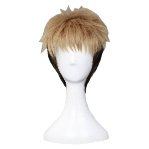 Angelaicos Men's Two Tone Costume Cosplay Party Wigs Short Black Blonde