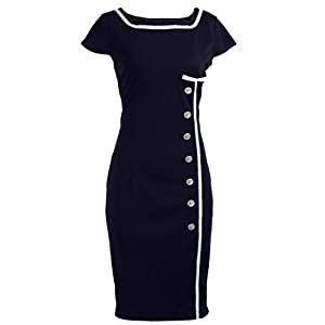 Navy Blue Sailor Nautical Pinup Rockabilly Vintage Retro Pencil Women's Dress X-Small