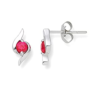 Miore UNI004E1W 9 ct White Gold Created Ruby Studs Earrings