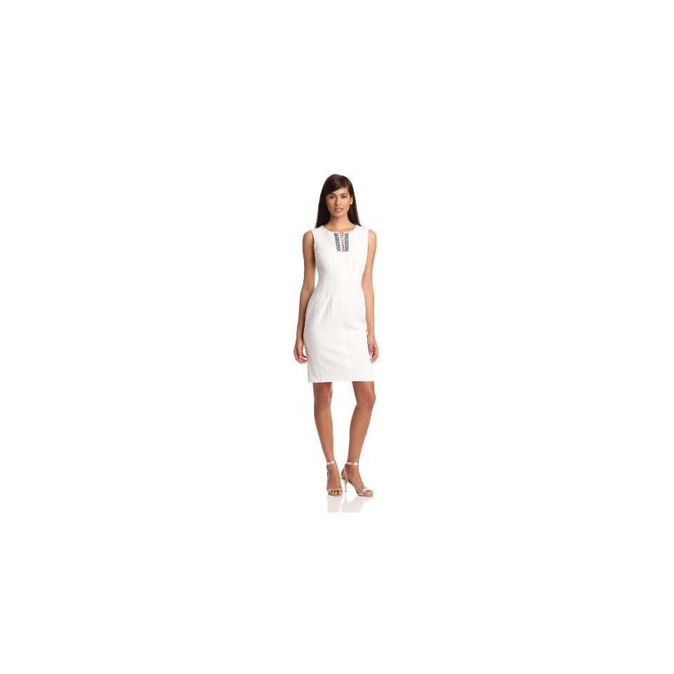 Anne Klein Womens A Line Solid Dress, Chalk, 12
