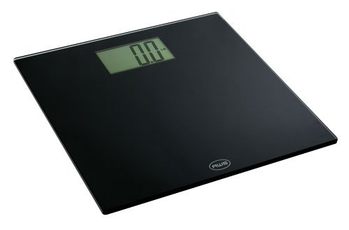 American Weigh Scales OM-200 Tempered Glass Bathroom Scale with X-Large Display and 440-Pound Capacity, Black