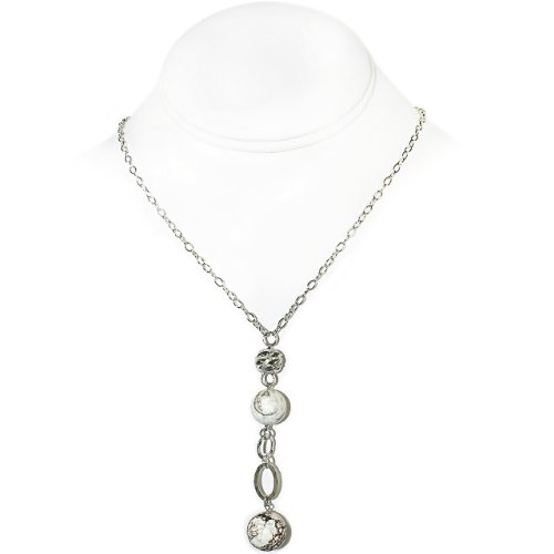 925 Sterling Silver Necklace with White Howlite and Sterling Silver Bead