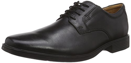 Clarks Tilden Plain - Scarpe Stringate Uomo, Nero (Black Leather), 44 EU