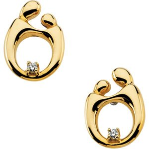 14K Yellow Gold Mother and Child Diamond Post Earring: 13.5X09.75 mm