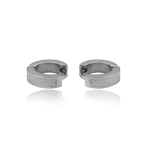 FASHION STAINLESS STEEL SILVER TONE HOOP EARRING FOR MEN JEWELRY 3.77grams