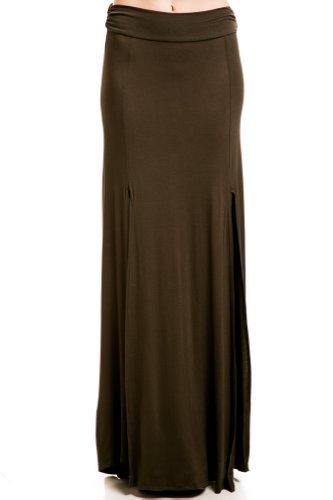 Waist Jersey Slit Skirt in Forest Green