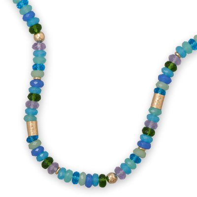 Shades of Blue Green and Purple Bead Necklace with Gold Filled Beads Adjustable Length