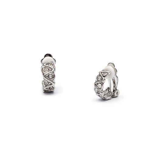 Rodney Holman Petite Diamante Half Hoop Clip On Earrings