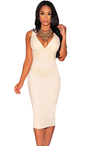 YFFaye Women's Faux Suede Knotted Keyhole Dress White Onesize