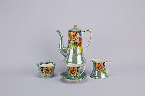6 Persons Flamboyant Art Nouveau Coffee Pot Floral TEA SET Cup Bowl Porcelain Creamer Serving Noritake Japanese Antique LS