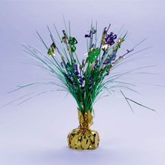 Purple Green And Gold Metallic Spray Mardi Gras Centerpiece
