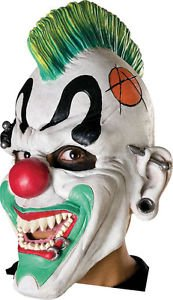 [Kids Punk Clown Mask Halloween Costume Mohawk Gauged Ears Latex Face Child Boys] (Donald Duck Costume Makeup)