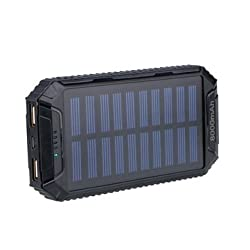 8000mAh DC5V 2A Dual USB Solar Panel Power Bank for Mobile Phone-Black