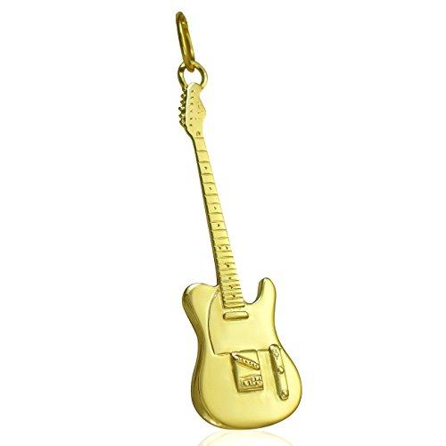 Groe-9-k-Gold-massiv-Fender-Telecaster-Gitarre-Halskette-Kette-Horizontal-vertikal-oder-nur-Anhnger-ohne-Kette