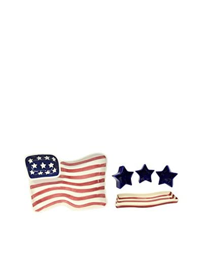 Uptown Down Vintage Americana Serving Set, Red/White/Blue