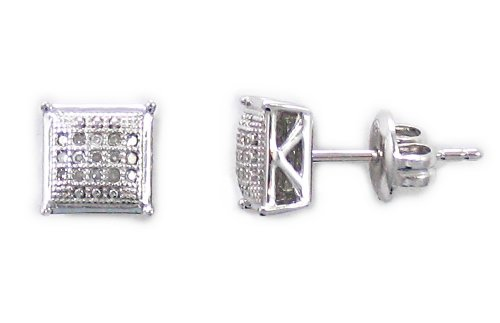 Sterling Silver Diamond Square Earrings (1/10 cttw)