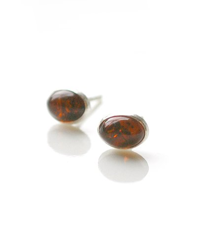 Small Oval Amber & Sterling Silver Post Earrings