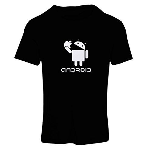 N4067F-Frauen-T-Shirt-Android-Unisex-T-Shirt-Medium-Schwarz-Fluoreszierend
