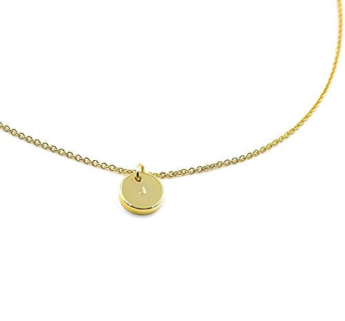Dainty Personalized 16K Gold Disc Necklace - Dainty Personalized Small Gold Circle Initial Plate Pendant Disc Charm Necklace Hand (Homemade Pilgrim Costumes)
