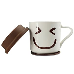 PANBADO® - I am not a paper cup Ceramic Eco Cup with Handle Cartoon Coffee Smiling Face Design Porcelain Travel Mug 300ml + Free Silicone Lid +Free Silicon Coaster