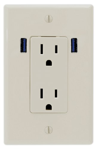 U-Socket Ace-8168 15-Amp Ac Decor Duplex Wall Outlet With Built-In Usb Ports, Light Almond