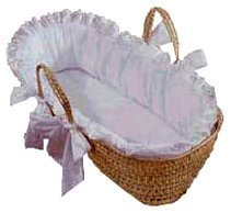Baby Doll Bedding Carnation Eyelet Moses Basket, White, 0-3 Months