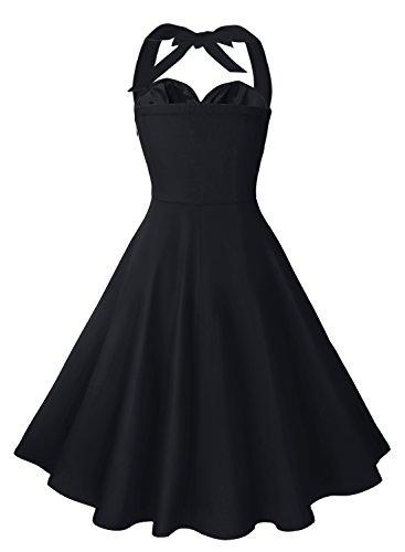 Anni Coco Women's Marilyn Monroe 1950s Vintage Halter Swing Tea Dresses Black Large