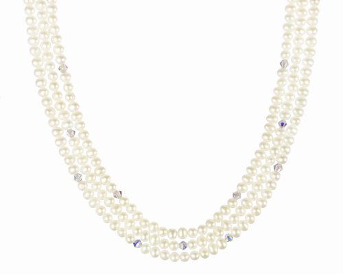 Clear Crystallized Swarovski Elements Bicone Bead and White Freshwater Cultured Pearl Beaded Necklace with Gold Plated Sterling Silver Clasp
