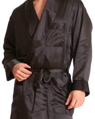Intimo Men's Classic Silk Robe, Black, Large