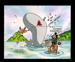 Grenada Grenadines Mickey Mouse and Willie The Whale with Pelicans Dinsey Stamp - 1
