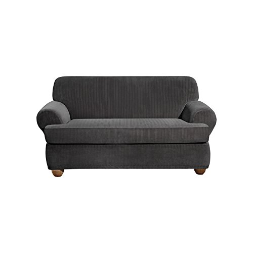 Sure Fit Stretch Pinstripe 2 Piece Loveseat Slipcover Black Sf39064 Furniture Sofas Loveseats