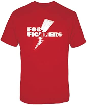 FEA Men's Foo Fighters Band Logo Lightning Bolt T-Shirt, Red, Small