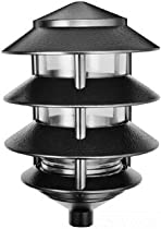 "RAB Lighting 6"" 4Tier Pagoda Path Light, A19 Lamp Black"