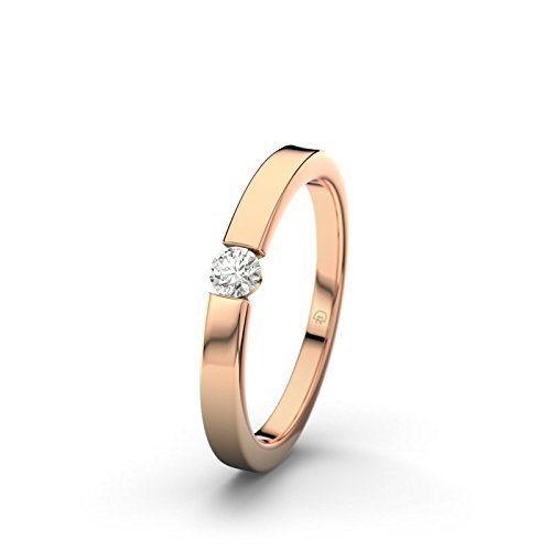 21DIAMONDS Triest Women's Ring VVS1 0.1 ct Brilliant Cut Diamond Engagement Ring 14ct Rose Gold Engagement Ring