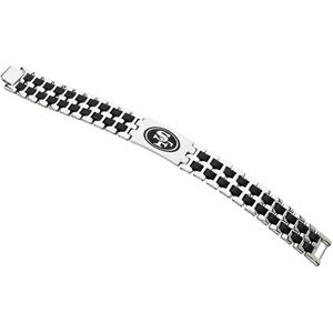 Stainless Steel and Black Rubber San Francisco 49ers Link Bracelet 8 Inches