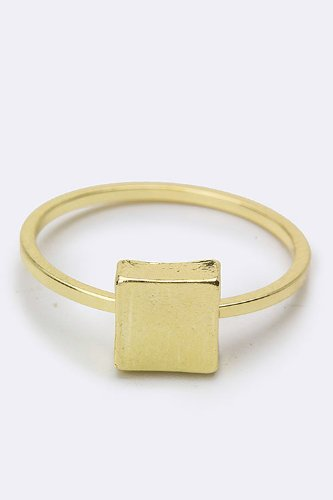 Trendy Fashion Jewelry Textured Square Midi Ring By Fashion Destination | (Gold)