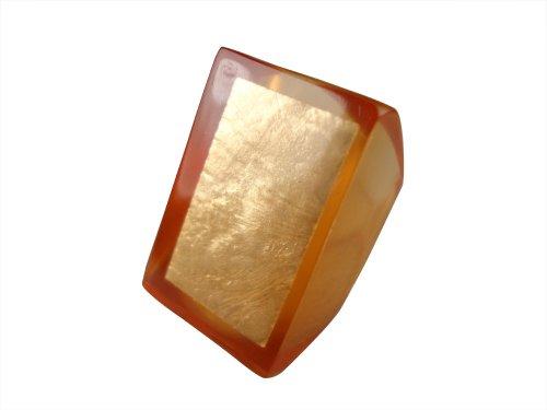 Acrylic Foil Encased Ring, Honey