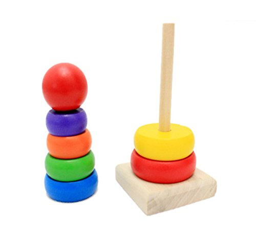 Darius Wooden Kid Baby Stacking Up Rainbow Tower Ring Educational Toy Classic Rainbow Stacker Tower Wooden Building Blocks Early Educational Toy for Babys (Old Baby Carriage compare prices)
