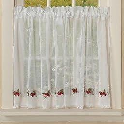 Curtain Chic Garden Path Tier, 24-Inch, Strawberry