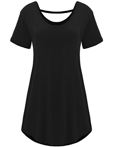 TTI Womens Round Neck Irregular Hem Cotton Top Tee (Small, Black)