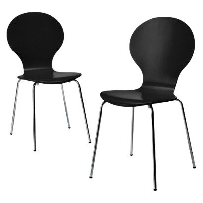 Modern Stacking Chair - Set Of 2 (Black)- Ebony Bent Plywood Chairs - Modern And Will Fit Perfectly In Any Room In Your House - Comfortable And Versatile Whether They Are Used For Dining Or Desk Chairs front-990470