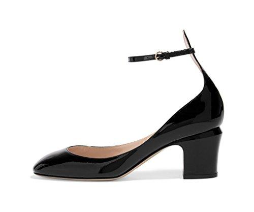 FSJ Ankle Strap Mid Heels Dress Pumps Almond Toe Patent Shoes for Women Size 13