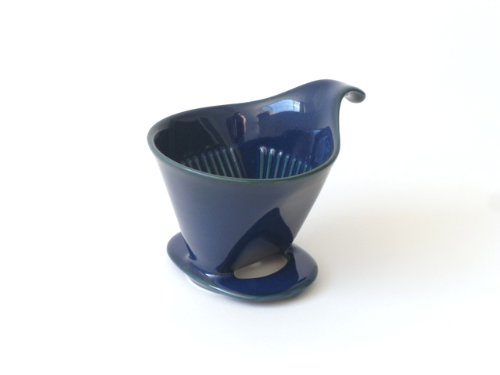 Bee House Ceramic Coffee Dripper - Large - Drip Cone Brewer (Jeans Blue)