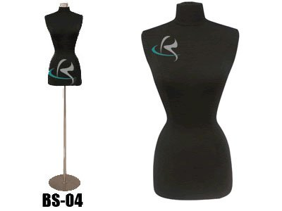 (Jf-f2/4BK+BS-04) Display Female Body Form Black jersey form with metal base
