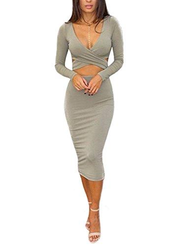 Memorose Womens Sexy Long Sleeve Cut-Out Bandage Bodycon Clubwear Midi Dress Grey S